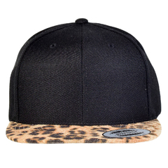 Yupoong snapback   leopard skin   front view