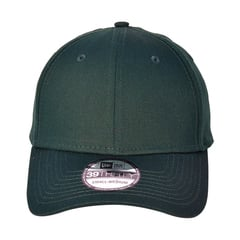 New era fitted cotton hat   dark green   front view