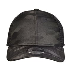 Camo stretch mesh cap   black camo   front view
