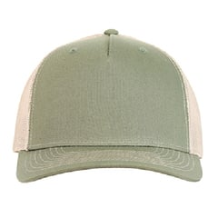 Richardson trucker hat   olive green tan   front view