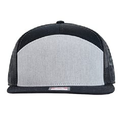 Richardson seven panel trucker hat   heather grey black   front view
