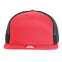 Richardson seven panel trucker hat   red black   front view