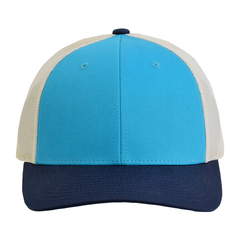 Richardson low profile trucker hat   blue teal birch navy   front view