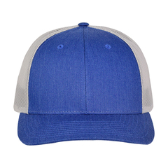 Richardson low profile trucker hat   heather royal silver   front view