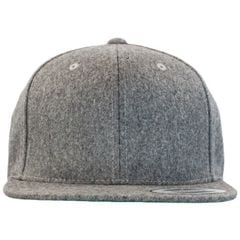 Yupoong melton wool snapback   heather grey   front view