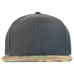 Flexfit classic snapback with camo visor   black   green camo   front view