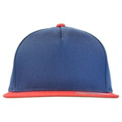 Yupoong 5 panel cotton twill snapback 2 tone   navy   red   front view