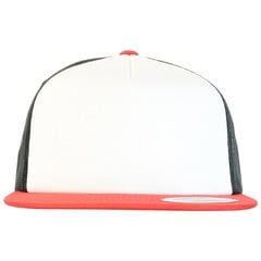 Foam trucker with white front snapback   red   white   black   front view