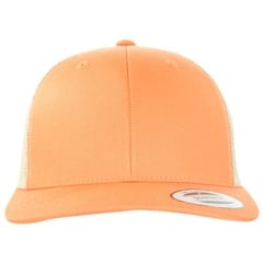 Yupoong retro trucker 2 tone snapback   orange   khaki   front view