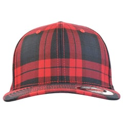 Flexfit tartan plaid   black   red   front view
